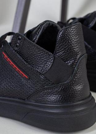 Мужские черные высокие кожаные кроссовки на шнурках и с резинкой