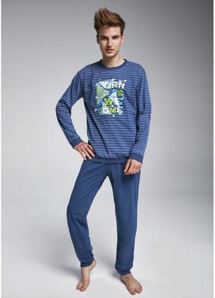 Мужская хлопковая пижама с длинным рукавом синего цвета cornet...