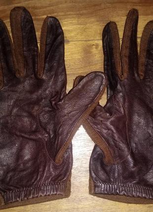 Перчатки damart, кожа-текстиль
