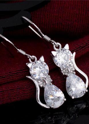 Серьги кошечки с кристаллами