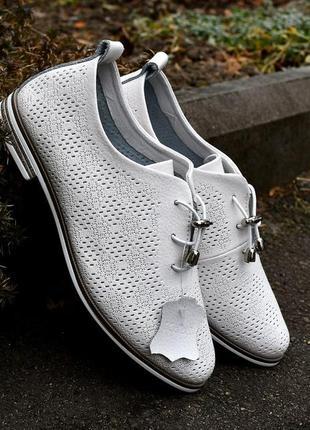 Белые туфли на шнуровке, натуральная кожа