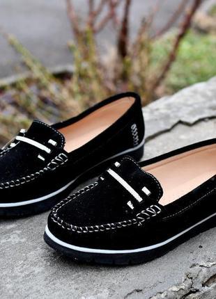 Чёрные повседневные мокасины,балетки, туфли, натуральная замша