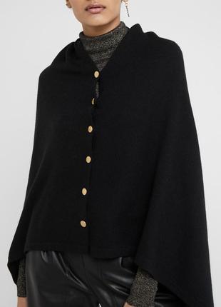 100% кашемир! шикарное стильное чёрное пончо davida cashmere