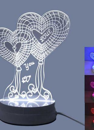 Детский ночник, светильник, creative light 3d