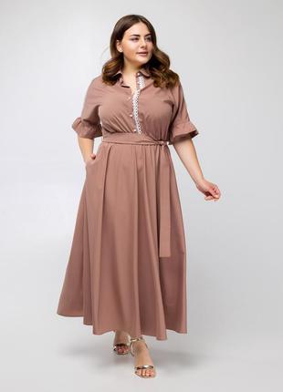 Красивое, летнее платье с юбкой-полусолнце большого размера