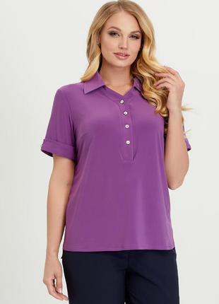 Женская летняя блуза в стиле поло большого размера