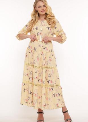 Длинное летнее платье большого размера