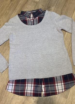 Плюшевый свитшот/свитер с рубашкой