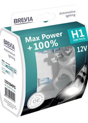 Комплект галогеновых ламп Brevia H1 Max Power +100% 12v/55w