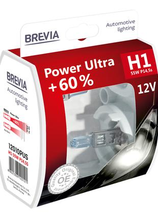 Комплект галогеновых ламп Brevia H1 Power Ultra +60% 12v/55w