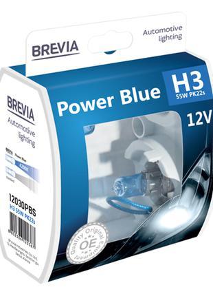 Комплект галогеновых ламп Brevia H3 Power Blue 12v/55w