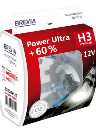 Комплект галогеновых ламп Brevia H3 Power Ultra +60% 12v/55w