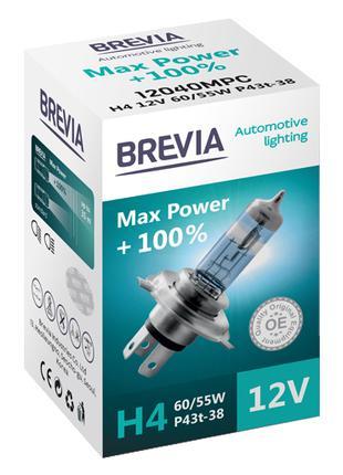Галогеновая лампа Brevia H4 Max Power +100% 12v 60/55w
