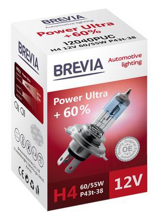 Галогеновая лампа Brevia H4 Power Ultra +60% 12v 60/55w