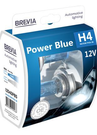 Комплект галогеновых ламп Brevia H4 Power Blue 12v 60/55w