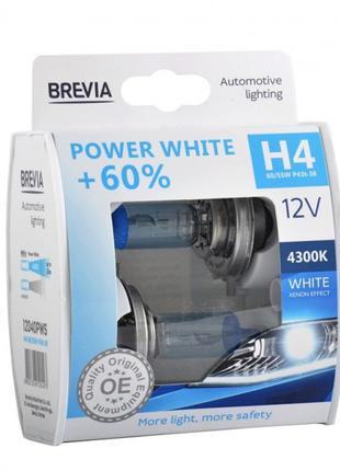 Галогеновые лампы Brevia H4 Power White +60% 12v 60/55w