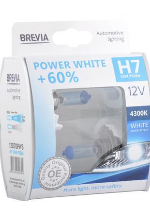 Галогеновые лампы Brevia H7 Power White +60% 12v/55w