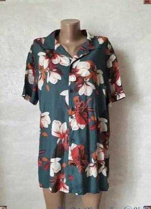 Фирменная primark удлинённая яркая блуза со 100%вискозы в круп...