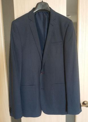 Мужской пиджак синий Asos Tall, 48