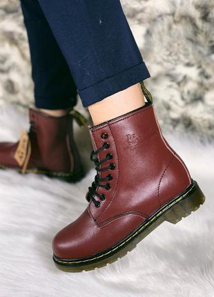 Ботинки dr. martens бордовые