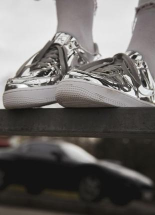 "Кроссовки nike air force 1 sp ""liquid metal"" silver"