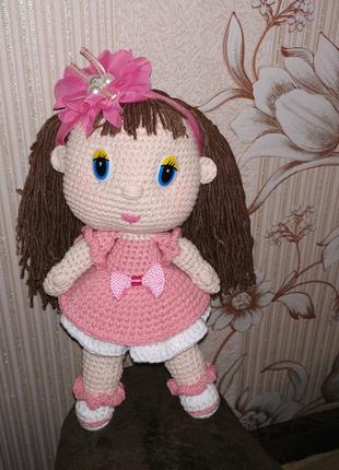 Вязаная игрушка Куколка 21см. Кукла крючком