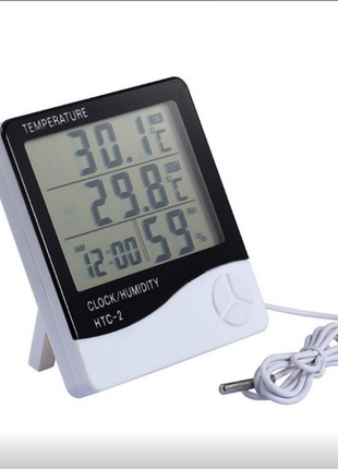 Цифровой термометр часы гигрометр HTC-2 с выносным датчиком