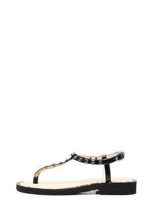 Черные кожаные женские сандалии