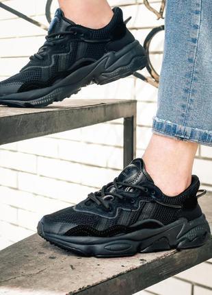 Кроссовки adidas ozweego all black woman