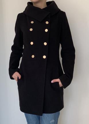 Пальто женское кашемировое чёрное + подарок