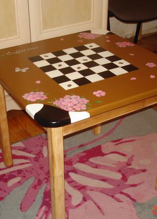 Столик кофейный с росписью(массив ольхи)