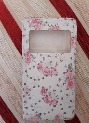 Чехол для смартфона (книжка) в квітковий принт
