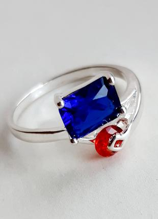 Серебряное кольцо с САПФИРОМ и РУБИНОМ, р.17.25, 925 проба, 238/7