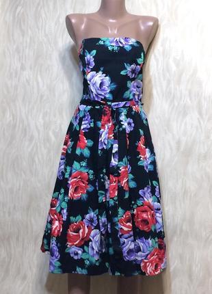 Красивое коттоновое платье с открытыми плечами с поясом george...