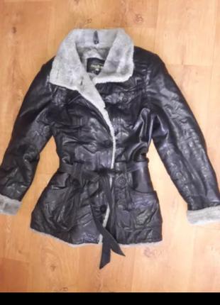 Кожаная зимняя курточка, пальто демисизонное