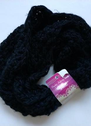 Шарф снуд черный вязаный шарфик теплый шарф хомут с этикеткой