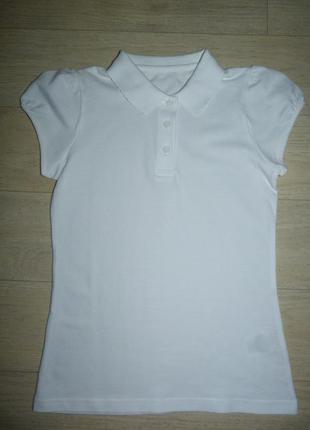 Беленькое поло, футболка, тенниска для девочки matalan 10 лет