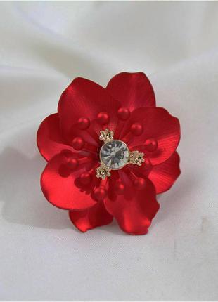 Модное кольцо бижутерия цветок марсала-красное