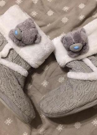Teddy тапочки сапожки домашние тедди мишки