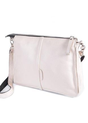 Женская бежевая кожаная сумка-клатч через плечо большая на мол...