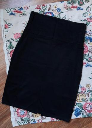 Котоновая черная юбка карандаш с высокой талией