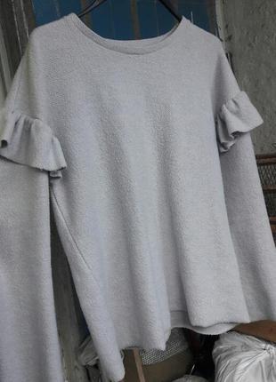 Кофта свитшот с рюшами (воланами) на рукавах
