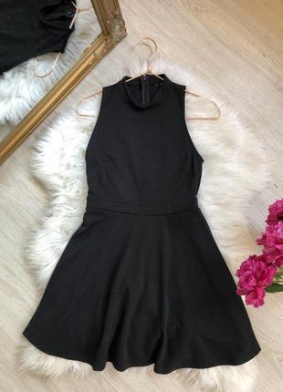 Подарок трикотажное черное платье сарафан