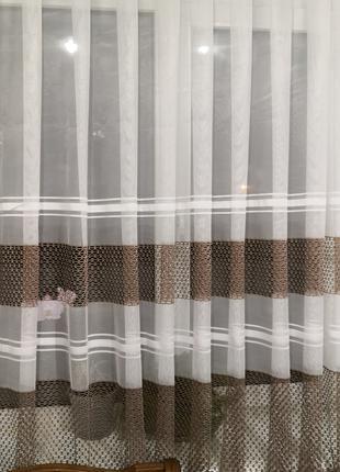 Занавеска штора тюль со вставкой сеткой