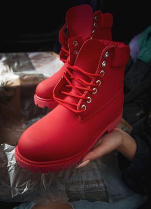 Зимние ботинки timberland red (termo)
