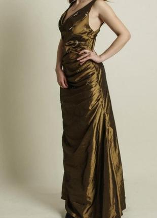 Платье а-силуэта из тафты цвета хаки с красивой драпировкой
