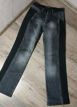 Муржские серые с черным теплые джинсы на флисе