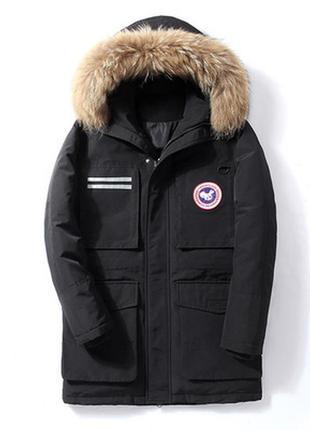 Мужской зимний длинный пуховик аляска больших размеров, чёрный