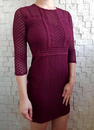 Платье sale кружево сетка цвета марсала бордо бордовое stradiv...