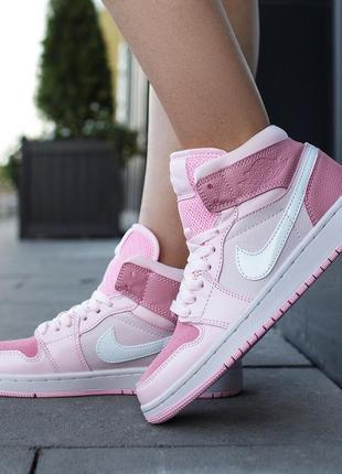 Шикарные женские кожаные кроссовки/кеды nike air jordan 1 mid ...